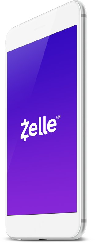 The Zelle app shown on a white smartphone.
